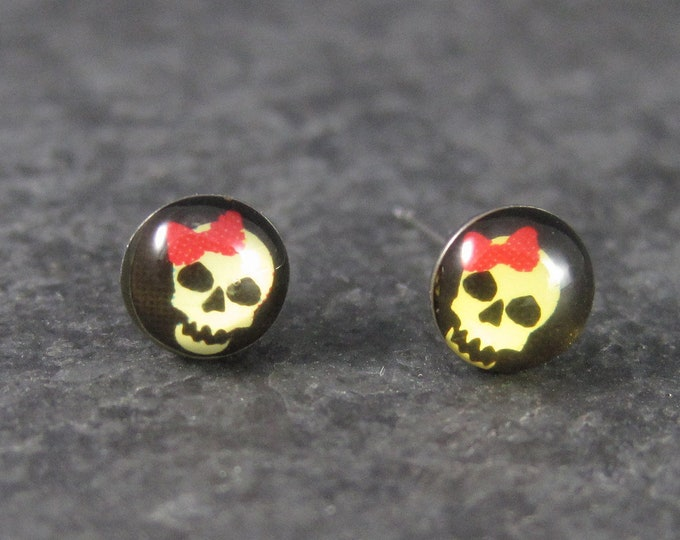 Vintage Stainless Steel Skull Stud Earrings