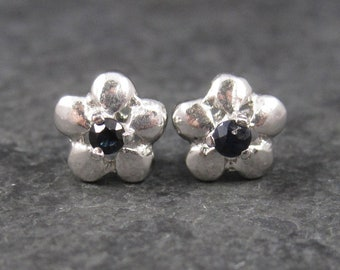 Vintage Sterling Sapphire Flower Stud Earrings