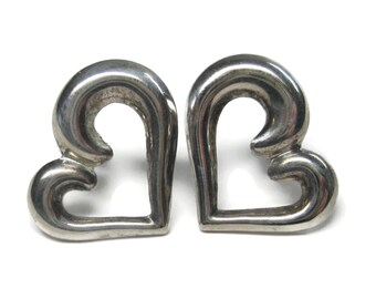 Vintage Sterling Heart Earrings
