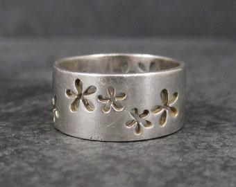Vintage 90s Sterling Wide Flower Band Ring Size 8