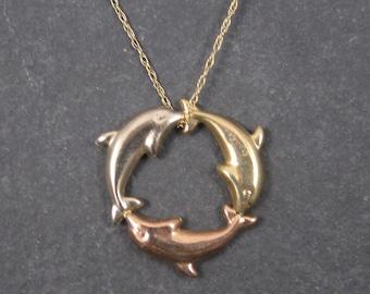 Vintage 10K Gold Dolphin Circle Pendant Necklace