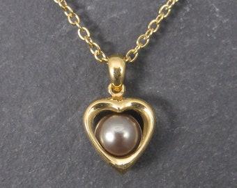 Vintage 14K Tahitian Pearl Heart Pendant 8mm Certified