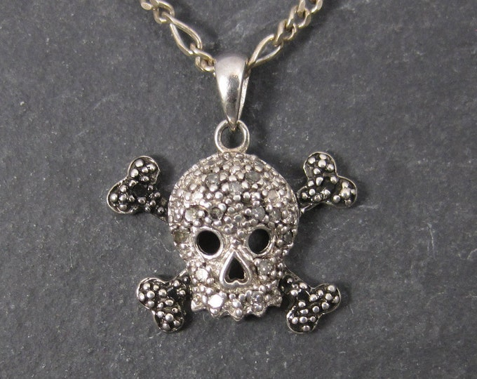Vintage Sterling Diamond Skull Pendant Necklace