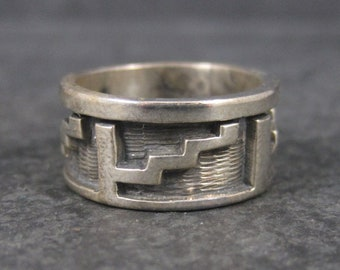 Vintage Sterling 9mm Native American Navajo Band Ring Size 5.5
