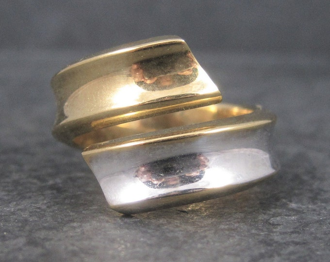 Vintage Italian Two Tone 14K Bypass Ring Size 10