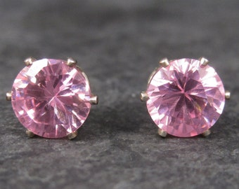 October Birthstone Pink Ice Sterling Stud Earrings 10mm