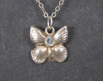 Vintage Sterling Aquamarine Butterfly Pendant Necklace