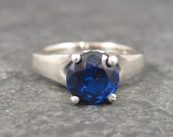 Sapphire Colored Blue Topaz Engagement Ring Sterling Size 8