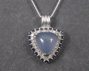 Vintage 10K Chalcedony Sapphire and Diamond Pendant Necklace
