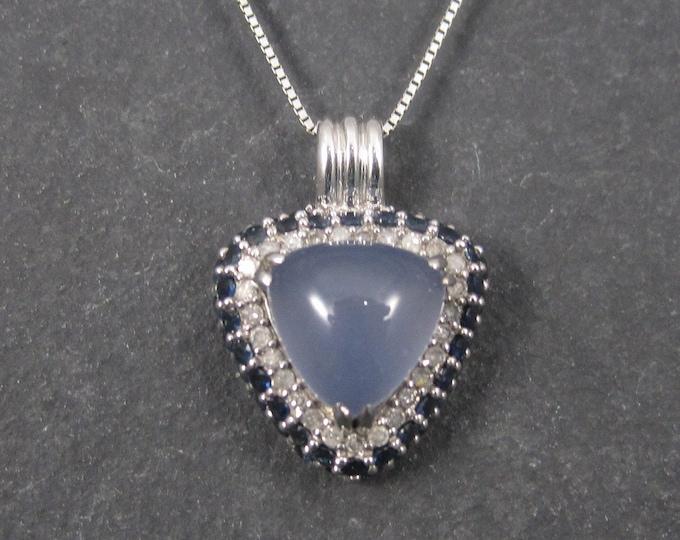 Vintage 10K Chalcedony Sapphire and Diamond Pendant Necklace