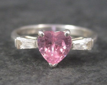 Vintage Sterling Pink Ice Heart Ring Size 8