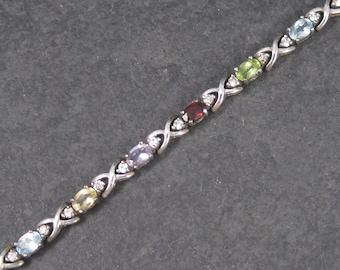 Vintage Sterling Garnet Amethyst Citrine Peridot Bracelet 7 Inches