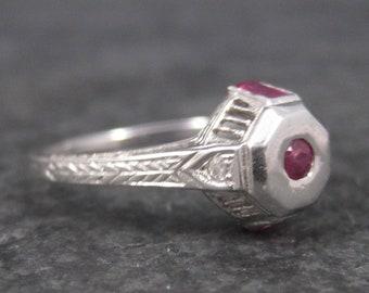 Antique Art Deco 9K Ruby Diamond Engagement Ring Size 6.5