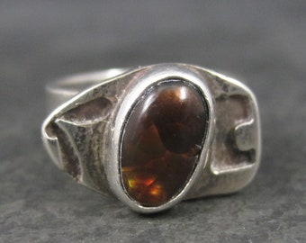 Unusual Vintage Sterling Fire Agate Ring Size 5
