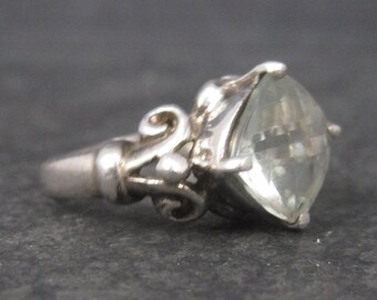 Vintage Sterling Green Amethyst Ring Size 7.25