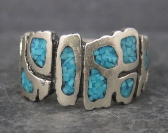 Vintage Sterling Turquoise Chip Ring Size 9
