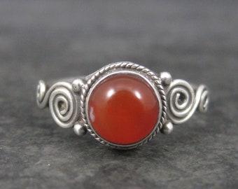 Dainty Sterling Carnelian Ring Size 7.25