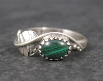 Vintage Navajo Malachite Feather Ring Sterling Size 6 Robert Lincoln