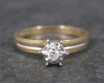 Simple Vintage 10K Diamond Illusion Solitaire Engagement Ring Size 6