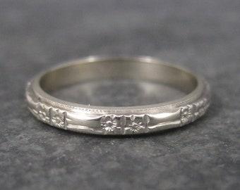 Antique 14K White Gold Orange Blossom Wedding Band Ring Size 5.75