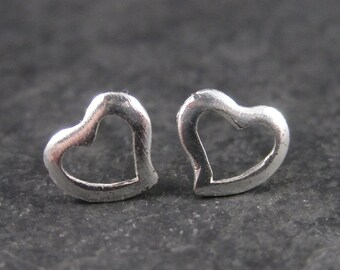 Vintage Minimalist Sterling Heart Stud Earrings
