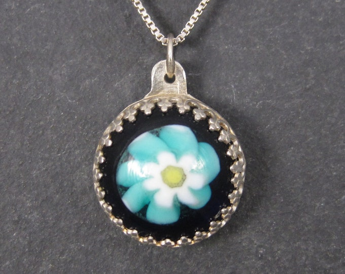 Vintage Sterling Art Glass Flower Pendant