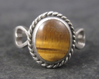Dainty Vintage Tigers Eye Heart Ring Size 6.25