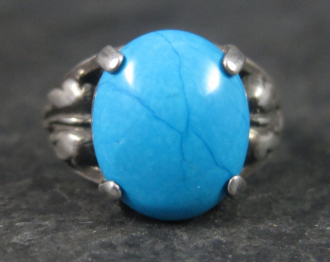 Vintage Turquoise Leaf Ring Sterling Size 4.75