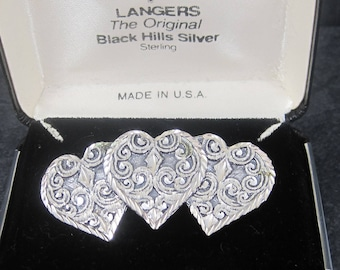 Vintage Black Hills Silver Western Heart Brooch Sterling