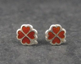 Tiny Vintage Sterling Red Clover Enamel Stud Earrings