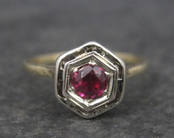 Antique Art Deco 14K Ruby Engagement Ring Size 5.5