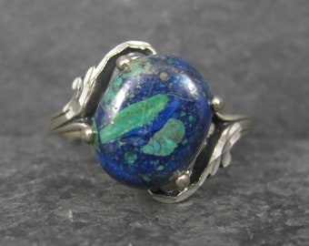 Vintage Sterling Diamond Cut Azurite Ring Size 5.5