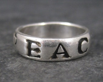 Vintage Sterling Peace Band Ring Size 7.25