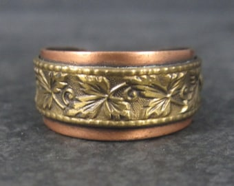 Vintage Copper and Brass Leaf Band Ring Size 8