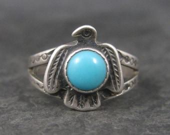 Vintage Southwestern Sterling Turquoise Thunderbird Ring Size 5 Harvey Era