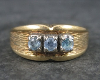 Wide Vintage 14K Aquamarine Ring Size 8