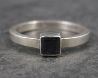 Dainty Vintage Sterling Black Tourmaline Ring Size 8.25