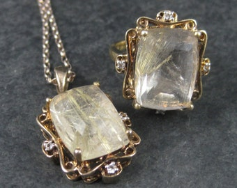 Vintage Vermeil Sterling Rutilated Quartz Ring Pendant Jewelry Set
