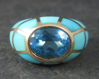 Vintage 10K Blue Topaz Turquoise Inlay Ring Size 6