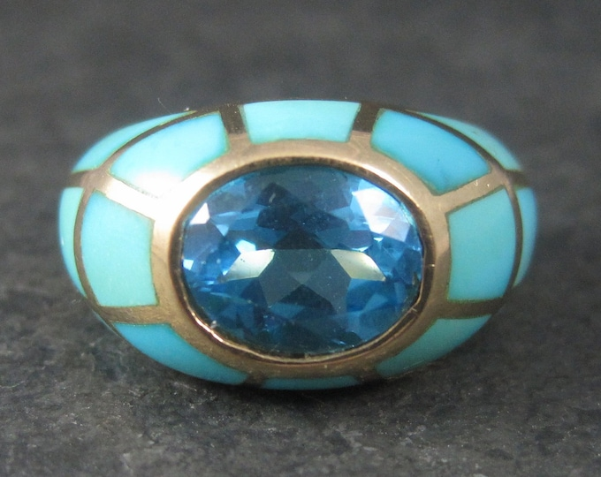 Featured listing image: Vintage 10K Blue Topaz Turquoise Inlay Ring Sie 6