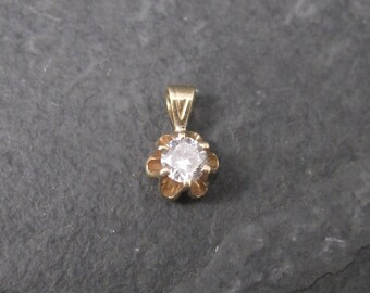 Tiny Vintage 14K Yellow Gold .15 Carat Diamond Pendant