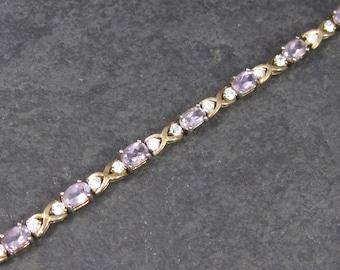 Vintage 90s Vermeil Amethyst Bracelet 7 Inches