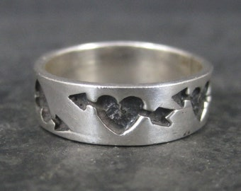 Vintage Sterling Heart Band Ring Size 7