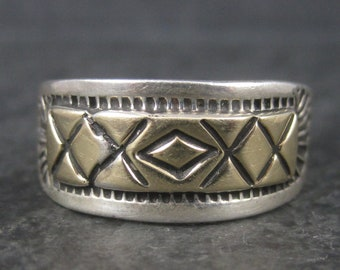 Vintage Southwestern Sterling 14K Band Ring Size 11.25