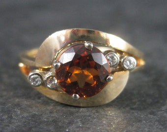 Vintage 14K .80 Carat Madeira Citrine Diamond Ring Size 5