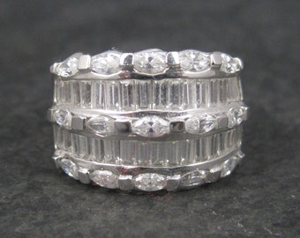 Vintage 90s Sterling Cubic Zirconia Cocktail Ring Size 8