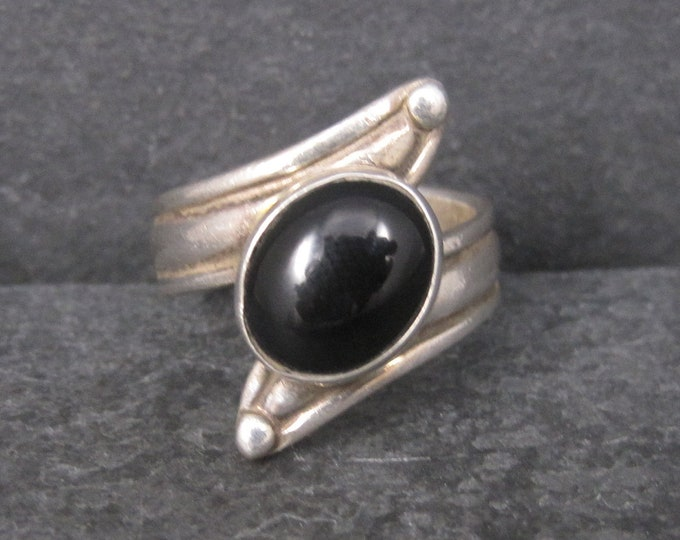 Gothic Vintage Sterling Onyx Ring Size 8.5