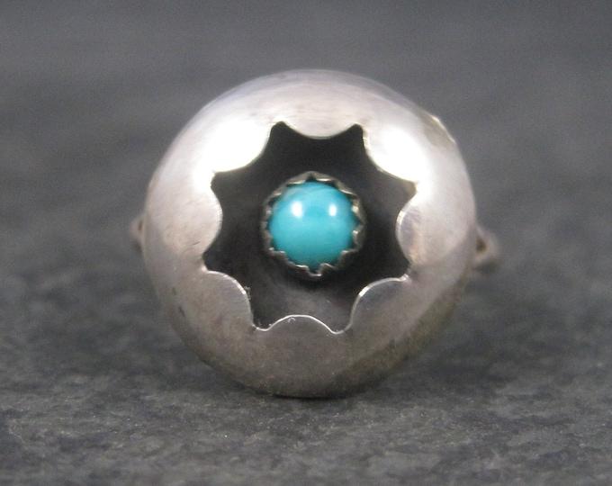 Dainy Vintage Southwestern Sterling Turquoise Shadowbox Ring Size 6
