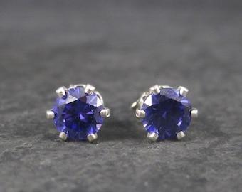 Sterling 6mm Purple Amethyst Birthstone Studs Earrings
