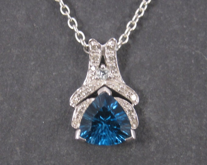 Featured listing image: 90s 10K London Blue Topaz Diamond Pendant